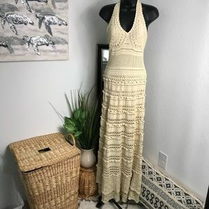 Moda International Crochet Halter Maxi Dress